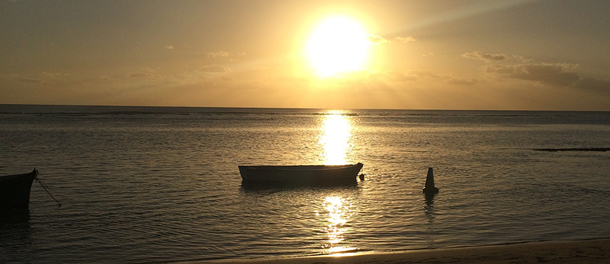Boat on water in Mauritius
