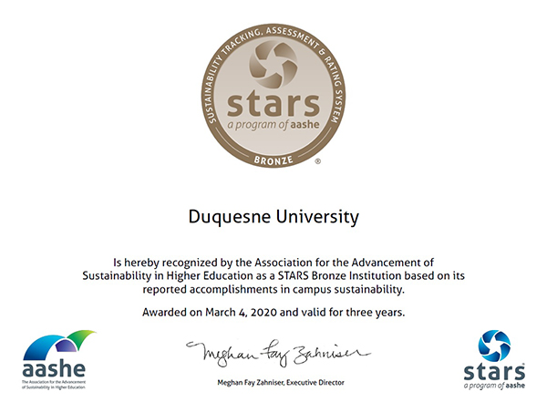 Sustainability tracking, assessment & rating system bronze award