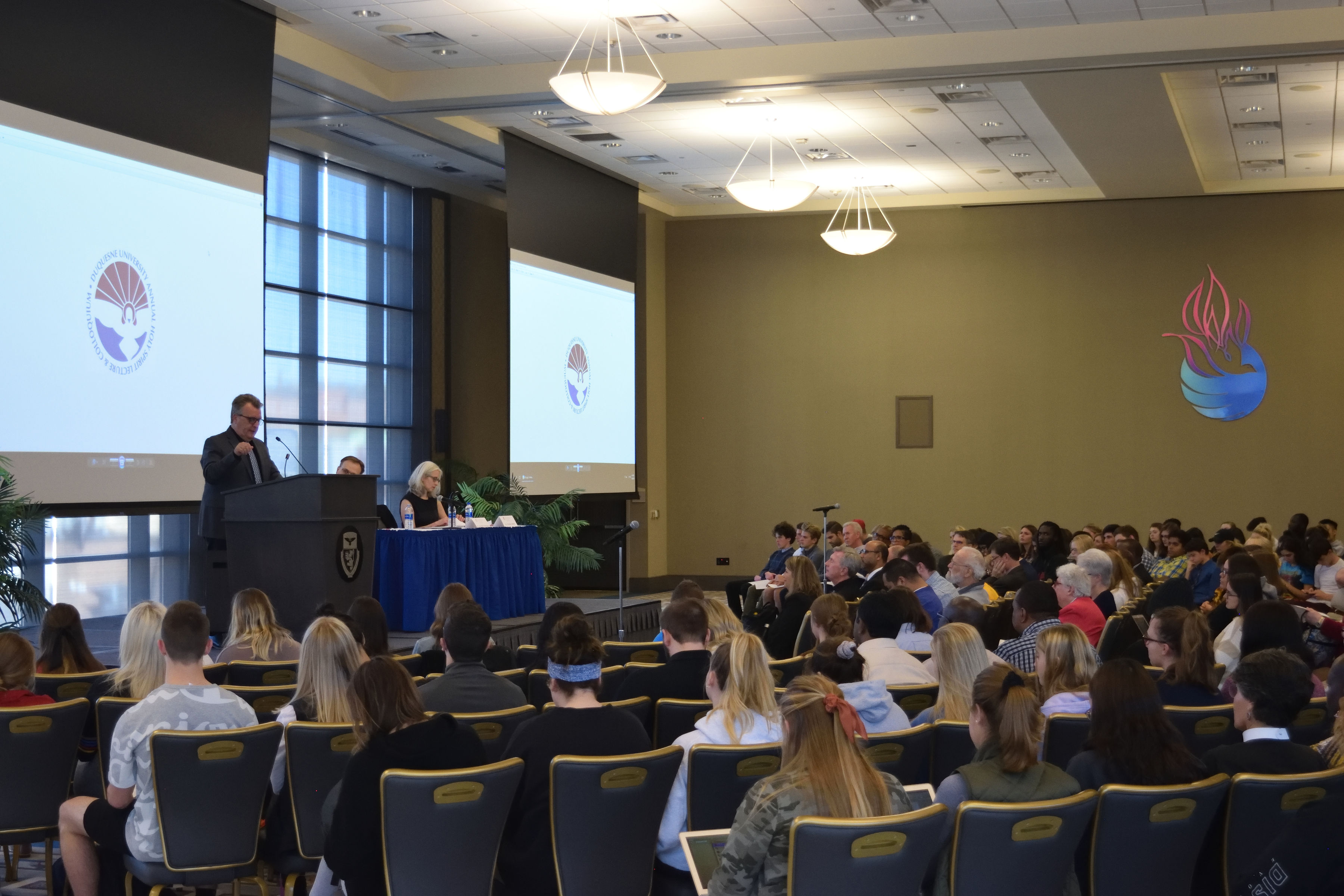 Wide shot of the Charles J. Dougherty Ballroom during the 2019 Holy Spirit Lecture