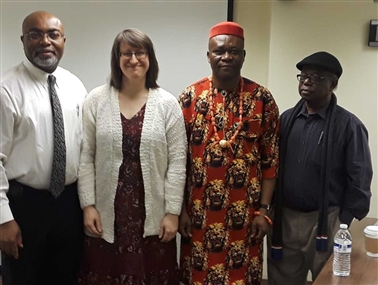 Rev. Dr. Cajetan A. Anyanwu recently defended his PhD dissertation. He is flanked on the right by Professor Elochukwu Uzukwu and on the left by Dr. Anna Scheid and Dr. Marinus Iwuchukwu who were members of his dissertation committee. His dissertation was supervised by Dr. Iwuchukwu.