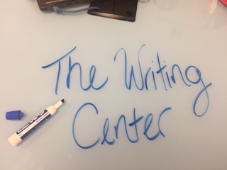 A table at the Writing Center main location.